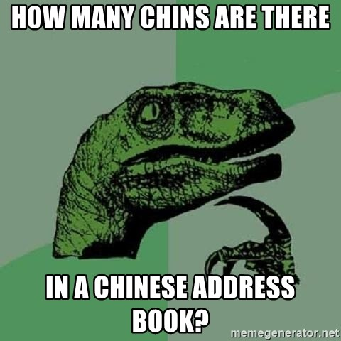 Philosoraptor - How many chins are there in a chinese address book?