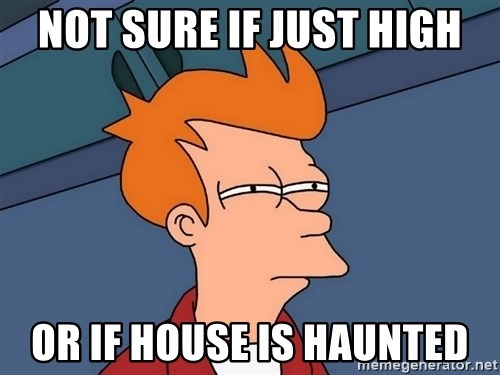 Futurama Fry - not sure if just high or if house is haunted