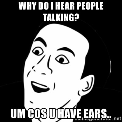 you don't say meme - WHY DO I HEAR PEOPLE TALKING? UM COS U HAVE EARS..