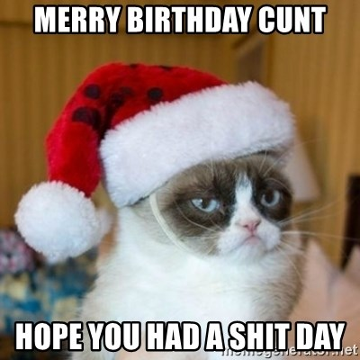 Grumpy Cat Santa Hat - MERRY BIRTHDAY CUNT HOPE YOU HAD A SHIT DAY
