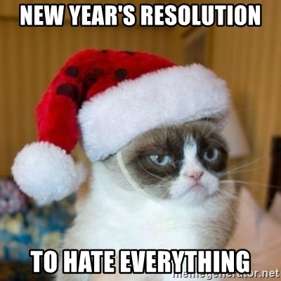 Grumpy Cat Santa Hat - New Year's Resolution to hate everything