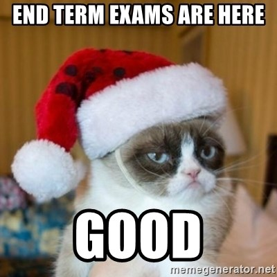 Grumpy Cat Santa Hat - end term exams are here Good