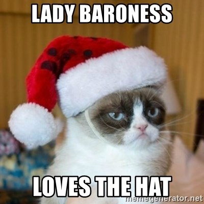 Grumpy Cat Santa Hat - lady baroness loves the hat