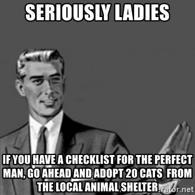 Correction Guy - seriously ladies if you have a checklist for the perfect man, go ahead and adopt 20 cats  from the local animal shelter