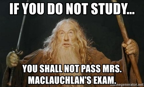 You shall not pass - IF YOU DO NOT STUDY... YOU SHALL NOT PASS MrS. MACLAUCHLAN'S EXAM.