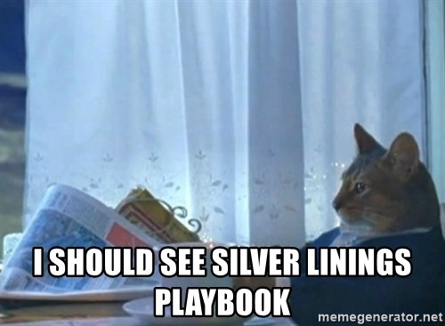 newspaper cat realization - I should see silver linings playbook