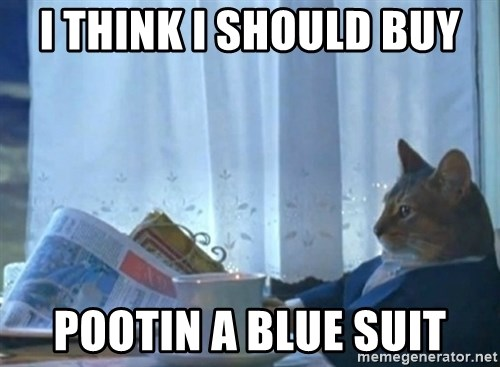 newspaper cat realization - I THINK I SHOULD BUY POOTIN A BLUE SUIT