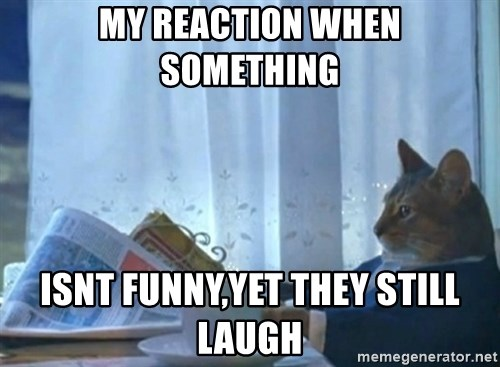 newspaper cat realization - my reaction when something  isnt funny,yet they still laugh
