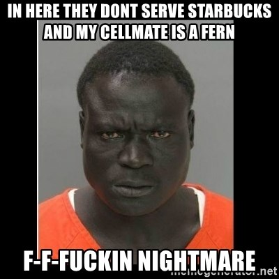 scary black man - in here they dont serve starbucks and my cellmate is a fern f-f-fuckin nightmare