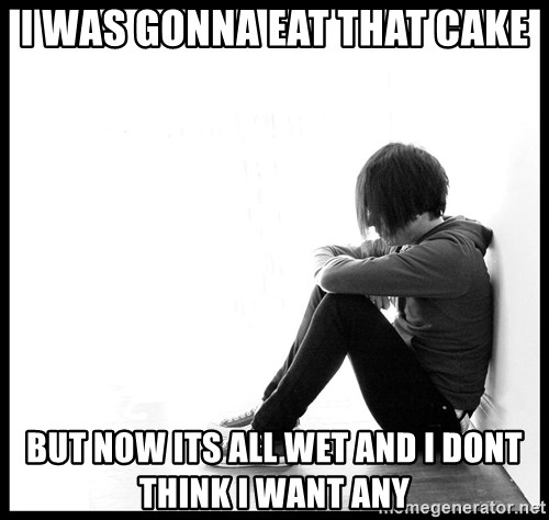 First World Problems - I was gonna eat that cake But now its all wet and i dont Think i want any