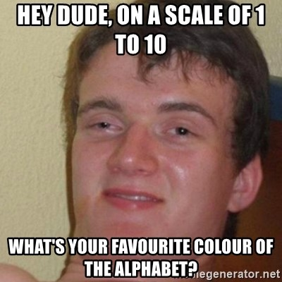 really high guy - Hey Dude, on a scale of 1 to 10 What's your FAVOURITE COLOUR of the alphabet?