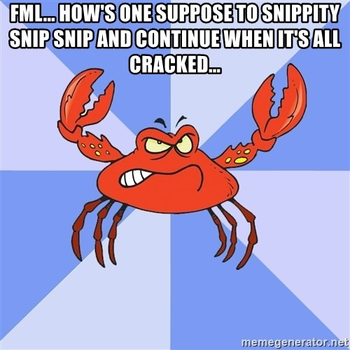 VasyaCrab - FML... HOW'S ONE SUPPOSE TO SNIPPITY SNIP SNIP AND CONTINUE WHEN IT'S ALL CRACKED...