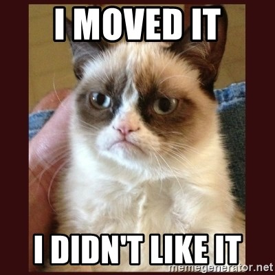 Tard the Grumpy Cat - I moved it I didn't like it