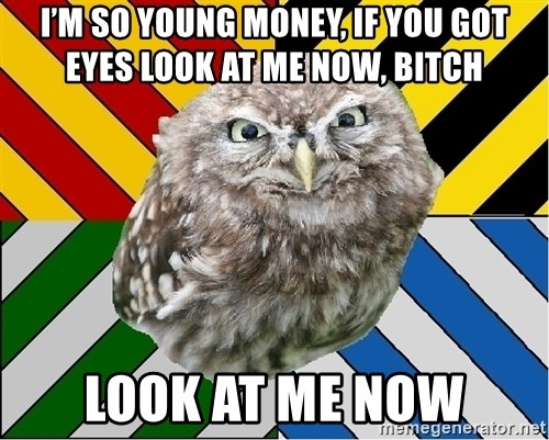 JEALOUS POTTEROMAN - I'm so Young Money, if you got eyes look at me now, bitch Look at me now