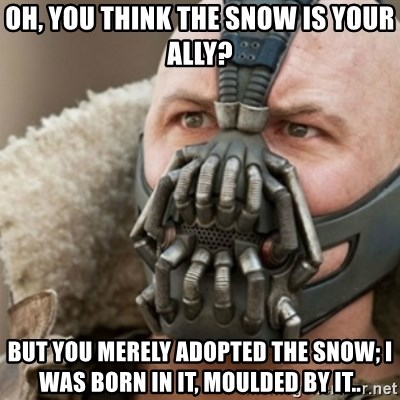 Bane - OH, YOU THINK THE SNOW IS YOUR ALLY? But you merely adopted the snow; i was born in it, moulded by it..