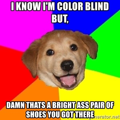 Advice Dog - I KNOW I'M COLOR BLIND BUT, DAMN THATS A BRIGHT ASS PAIR OF SHOES YOU GOT THERE