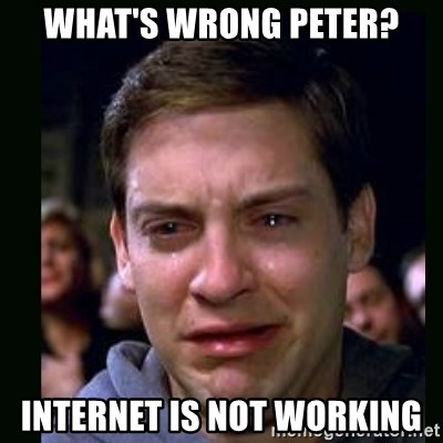 crying peter parker - what's wrong peter? internet is not working