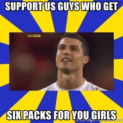 CRISTIANO RONALDO INYUSTISIA - SUPPORT US GUYS WHO GET  SIX PACKS FOR YOU GIRLS