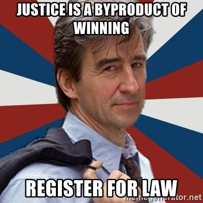 Jack McCoy - Justice is a byproduct of winning register for law