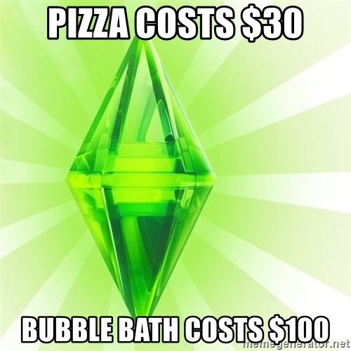 Sims - pizza costs $30 Bubble bath costs $100