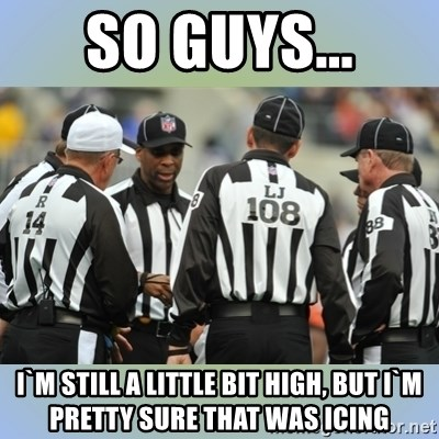 NFL Ref Meeting - So guys... I`m still a little bit high, but I`m pretty sure that was icing