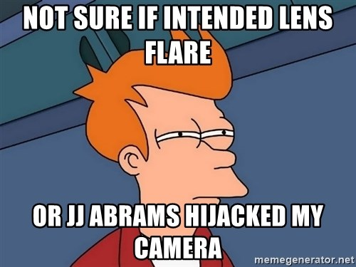 Futurama Fry - Not sure if intended lens flare or jj abrams hijacked my camera