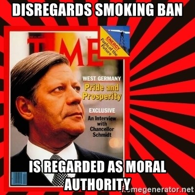 Helmut looking at top right image corner. - disregards smoking ban is regarded as moral authority