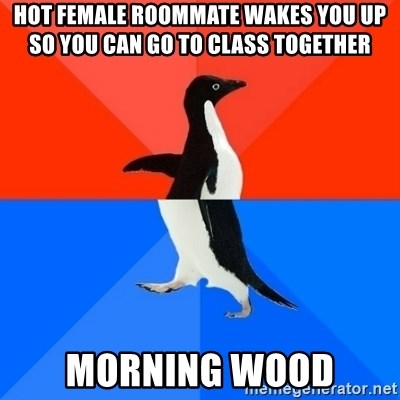 Socially Awesome Awkward Penguin - Hot Female RoomMate wakes You up so you can go to class together morning wood