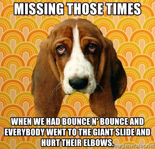 SAD DOG - missing those times when we had bounce n' bounce and everybody went to the giant slide and hurt their elbows.
