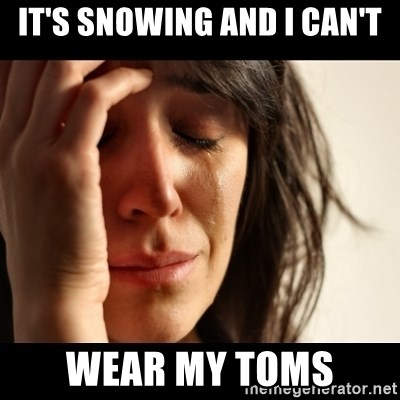 crying girl sad - it's snowing and I CAN'T wear my toms