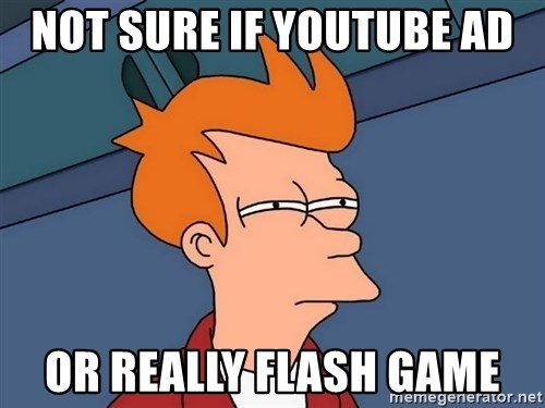 Futurama Fry - Not sure if Youtube ad or really flash game