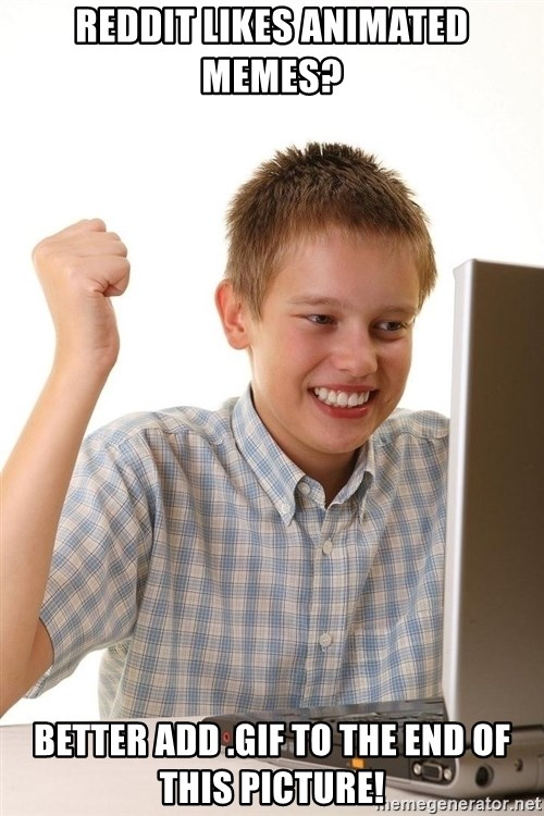 First Day on the internet kid - Reddit likes animated Memes? Better add .gif to the end of this picture!