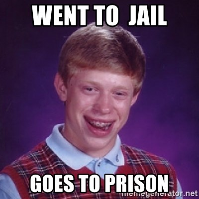 Bad Luck Brian - WENT TO  JAIL GOES TO PRISON