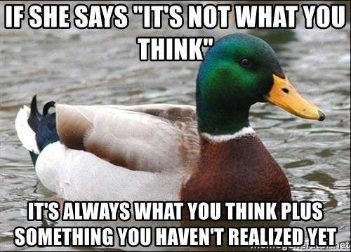 """Actual Advice Mallard 1 - if she says """"it's not what you think"""" it's always what you think plus something you haven't realized yet"""