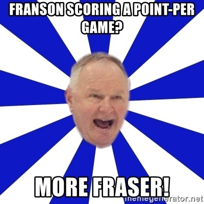 Crafty Randy - Franson Scoring a point-per game? More fraser!