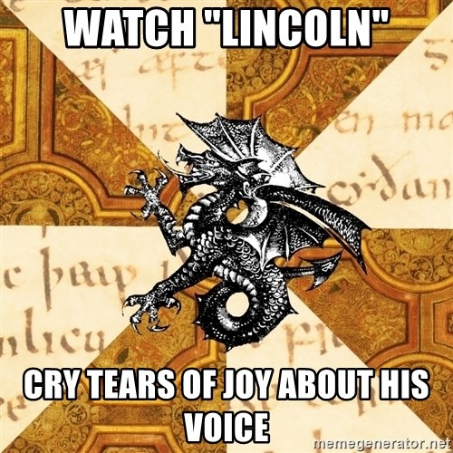 "History Major Heraldic Beast - Watch ""lincoln"" cry tears of joy about his voice"