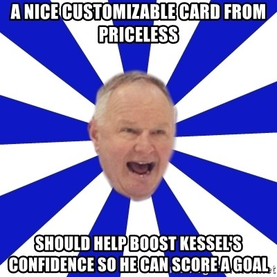 Crafty Randy - a nice customizable card from priceless should help boost kessel's confidence so he can score a goal