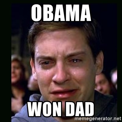 crying peter parker - OBAMA WON DAD