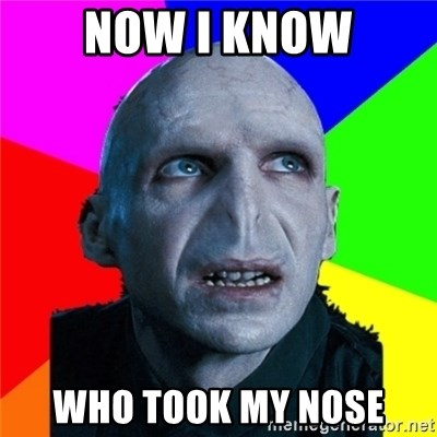 Poor Planning Voldemort - now i know who took my nose