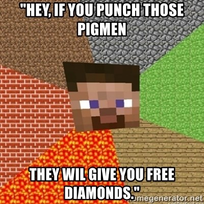 """Minecraft Steve - """"Hey, if you punch those pigmen they wil give you free diamonds."""""""