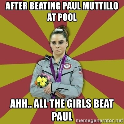Not Impressed Makayla - after beating paul muttillo at pool ahh.. all the girls beat paul