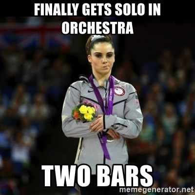 Unimpressed McKayla Maroney - Finally gets solo in orchestra two bars