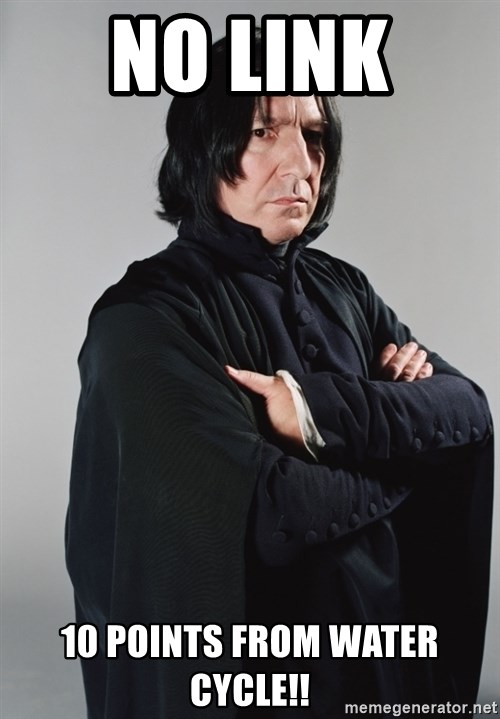 Snape - No link  10 points from Water cycle!!