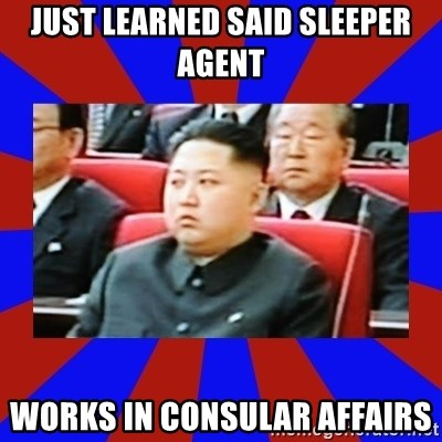 kim jong un - Just learned said sleeper agent works in consular affairs