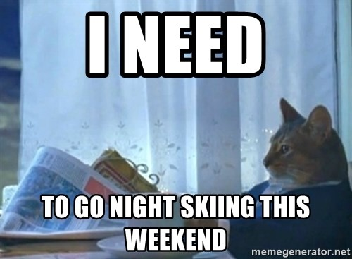 newspaper cat realization - I need to go night skiing this weekend
