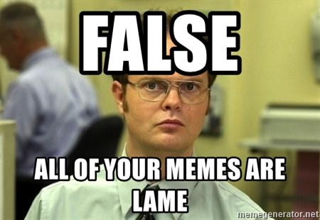 Dwight Schrute - False  All of your memes are lame