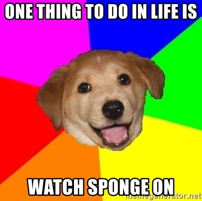 Advice Dog - ONE THING TO DO IN LIFE IS WATCH SPONGE ON