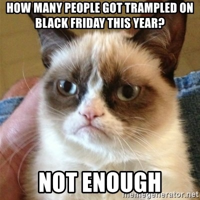 Grumpy Cat  - How many people got trampled on black friday this year? not enough