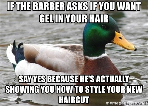 Actual Advice Mallard 1 - If the barber asks if you want gel in your hair say yes because he's ACTUALLY showing you how to style your new haircut