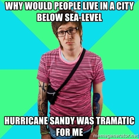 Disingenuous Liberal - Why would people live in a city below sea-level Hurricane Sandy was tramatic for me